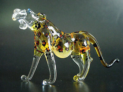 Glass Animal, Spotted LEOPARD, Wild Cat, Painted Glass Ornament, Glass Figure
