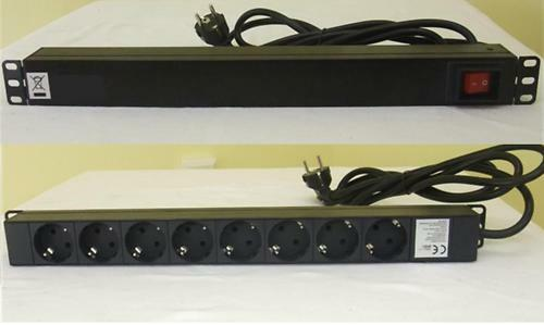 "1U 19"" Rack MultiPrise Schuko 8 Ports pour Flight Case / Serveur ADAM HALL"