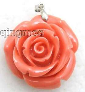 SALE-Big-35mm-Pink-Rose-shape-coral-pendant-Free-shipping-pen186