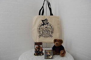 Boyds Bear RARE F.O.B. First Family Reunion 2001 Resin, Bear, Pin & Tote Bag