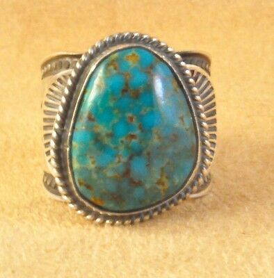 Daniel Sunshine Reeves Hand made Kingman Turquoise Navajo Sterling Silver Ring