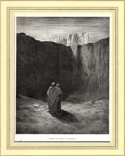 DANTE, VIRGILIO E LE ANIME DEL PURGATORIO. Gustave Doré. Divina Commedia. 1890