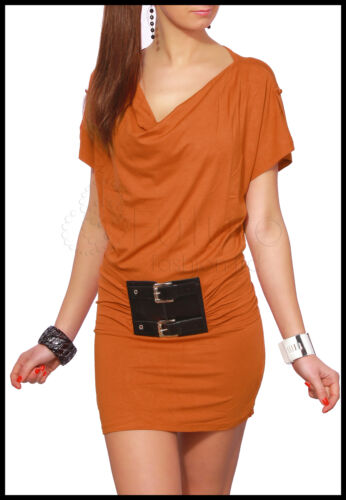 Ladies Party Dress Batwing Top Cowl Neck With Belt Tunic Size 8-12 HQ 5400