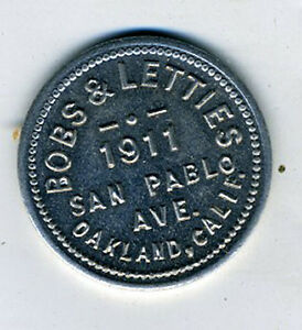 Old-Aluminum-Trade-Token-Bob-amp-Lettie-039-s-Oakland-CA-Good-for-50-cents-in-Drinks