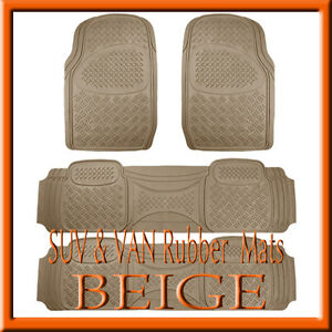 4-PCS-LINCOLN-NAVIGATOR-HEAVY-BEIGE-RUBBER-FLOOR-MATS-FULL-SET