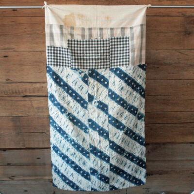 JAPANESE BORO BLANKET indigo shibori quilt vintage 1920 Japan Sashiko fabric