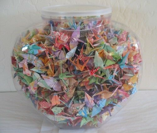 "One Thousand 1000  Hand-Made 2"" Origami Paper Cranes in Plastic Jar - Patterns"