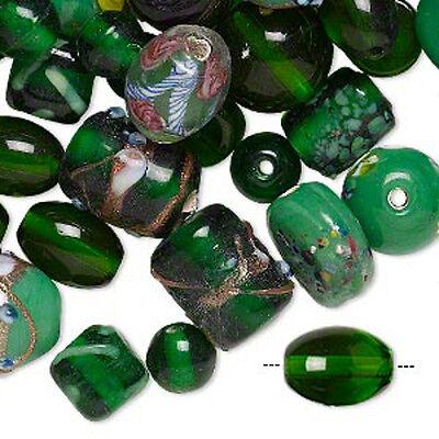 Green Lampwork Glass Beads Mix Handmade Fancy Jewelry Lot of 70+