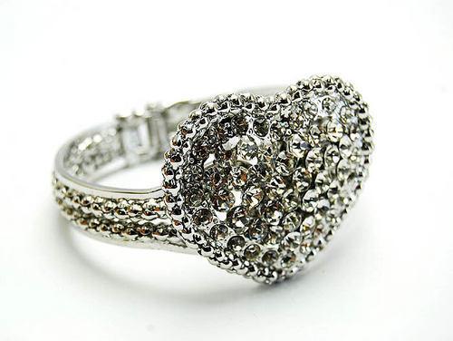 Crystal Heart Silvertone Hinged Bangle Bracelet