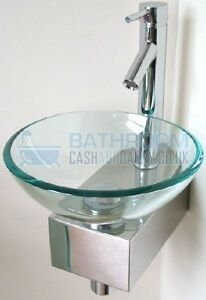 Cloakroom Sink Round Glass Wash Basin Small Compact Space