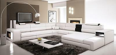 Chic Modern 5022 Polaris White Genuine Leather Sectional Sofa Contemporary Style