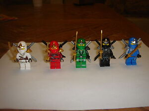 5-LEGO-NINJAGO-green-ninja-Lloyd-KAI-JAY-ZX-minifigures-with-weapons-LOT-new