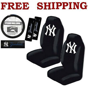 new 5pc set mlb new york yankees front seat covers steering wheel cover more ebay. Black Bedroom Furniture Sets. Home Design Ideas