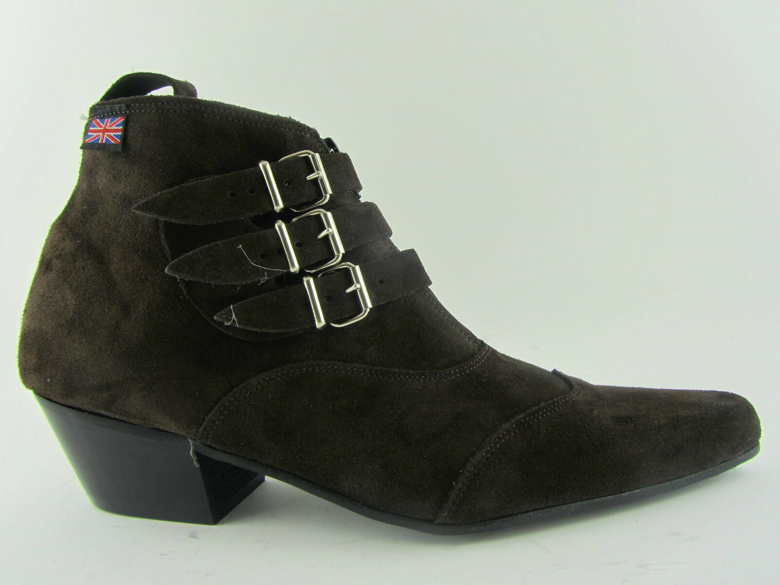 Retro Mens 3 Straps Brown Suede Chelsea Beat Boots Cuban Heel Beatle Pointed Toe