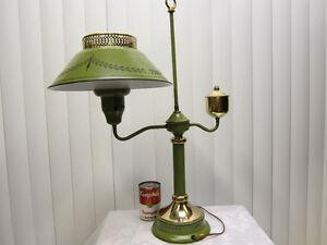 Vintage-Green-Black-Toleware-Metal-Table-Student-Lamp-Tole