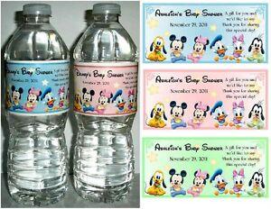 20 DISNEY BABIES Mickey Minnie BABY SHOWER FAVORS WATER BOTTLE ...