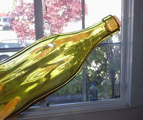 "3 SIDED AMBER YELLOW GLASS BOTTLE 10"" TALL W/ CORK BATH OLIVE OIL WINDOW DECOR"