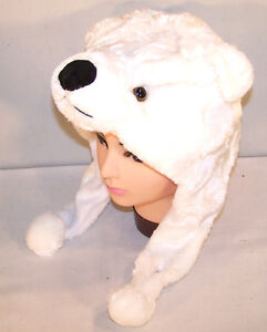 white polar bear plush animal hat soft warm earmuffs kids. Black Bedroom Furniture Sets. Home Design Ideas