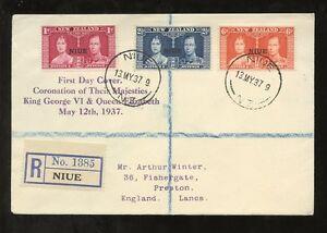 NIUE 1937 CORONATION KG6 SET...A.WINTER REGISTERED CACHETED PRESENTATION FDC
