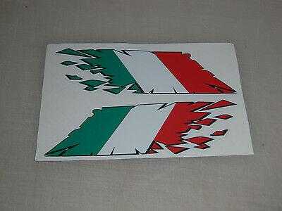 "Italian Flag ""rip"" style stickers x2 - ducati , aprilia etc motorbike decals"
