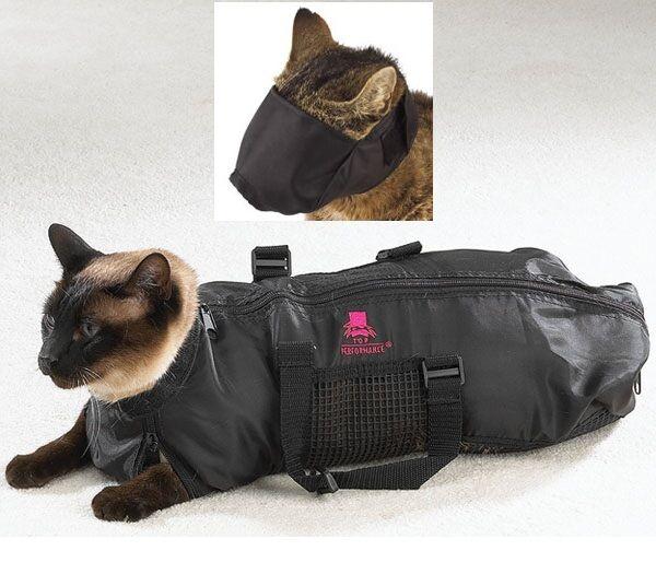 CAT GROOMING BAG no scratching biting restraint bathing cut nails + FREE MUZZLE