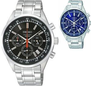 Seiko-Chronograph-Stainless-Steel-Hardlex-crystal-100M-Men-039-s-Watch