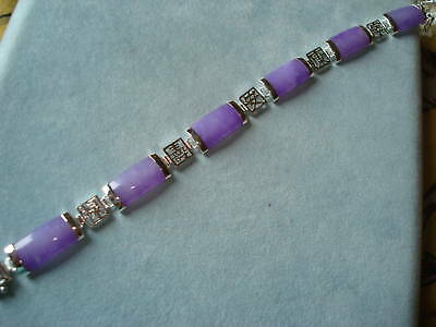 "Purple Jade Link Sterling Silver Bracelet 7.25"" Long  9.6 Grams NEW"