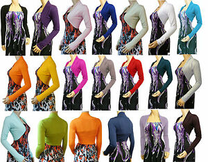 New-Bolero-Shrug-Cardigan-Ladies-Top-UK-Size-10-22-Available-in-20-Colors