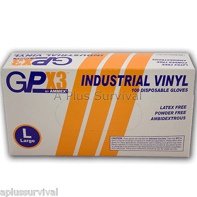 100 Vinyl 3 Mil Safety Gloves Large GPX3 Powder Free Survival First Aid Kits