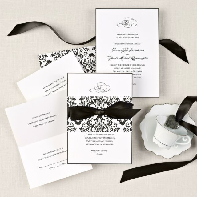Custom Printed Delicate Damask Wedding Invitations Kit or Preprinted Sample