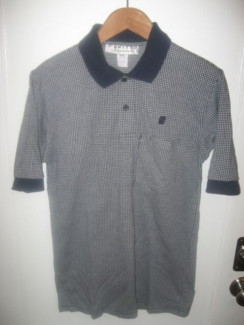 United Airlines UAL UA Tulip Logo Houndstooth Design Men's 1990's Polo Shirt XS