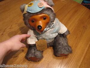 Robert Raikes Reginald 5467 bear v neck sweater bow wood face paws 1986 RARE