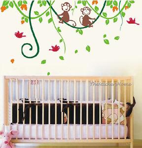 Cheeky-Monkey-On-Tree-Wall-Sticker-Art-Decal-Nursery-Children-Kids-Bedroom-Decor