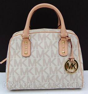 Michael-Kors-MK-Signature-PVC-Leather-Monogram-Small-Satchel-Purse-Bag-Vanilla
