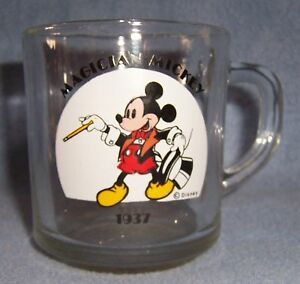 Vtg-Disney-Magician-MICKEY-mouse-Glass-MUG-AnchoHocking