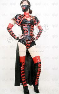 Latex-Rubber-0-8mm-Ninja-Outfits-catsuit-uniform-cape