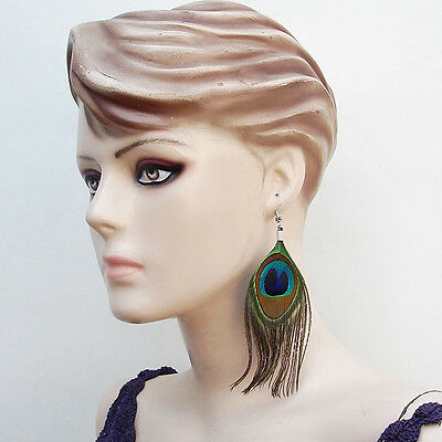 NEW NATURAL REAL PEACOCK FEATHER FASHION HANDCRAFTED FASHION HOOK EARRINGS 40/2