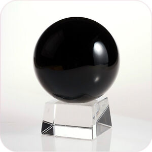 """Black (Jet Black) Crystal Ball 110mm 4.2"""" Include Crystal Stand and Gift Package"""