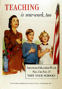 MAGNET-Vintage-Wartime-Poster-Magnet-TEACHING-1940s-Free-Shipping