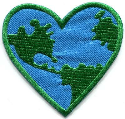 Save the Earth heart ecology retro hippie boho sew applique iron-on patch S-824