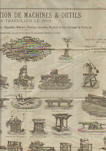 PARIS-XII-MACHINES-amp-OUTILS-a-TRAVAILLER-LE-BOIS-034-GERARD-034-AFFICHE-en-1880