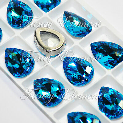 12 Rhinestone 4320 25x18mm Aquamarine Blue Sew On Crystal Teardrop Fancy Stone