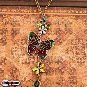 Retro-Vintage-Butterfly-and-Colorful-Flowers-Rhinestone-Pendant-Necklace