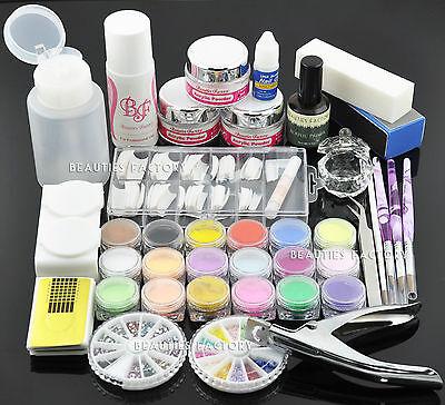 Premium Acrylic Nail Set : Powder Liquid Tip Gems Buffer Clipper Brush Form #777