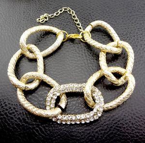 Hot-New-Gold-Plated-Rhinestone-Chunky-Circle-Chain-Link-Charm-Bracelet