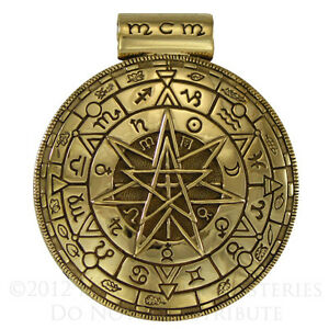 Large-Bronze-Alchemical-Pentacle-Shield-Pendant-Pagan-Wiccan-Necklace-Jewelry