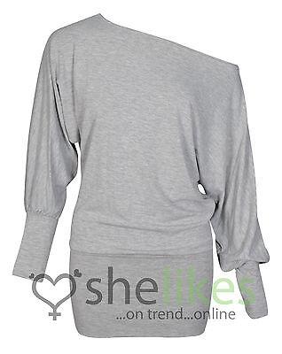 Womens One Shoulder Top Ladies Batwing Off Shoulder Long Sleeve Top 8 10 12 14