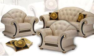 Luxus Möbel Italien Echtleder Garnitur Sofa Couch Sessel Klassik ...