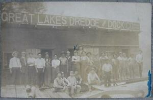 1910's Real Photo~Great Lakes Dredge & Dock Men at Work~Dill