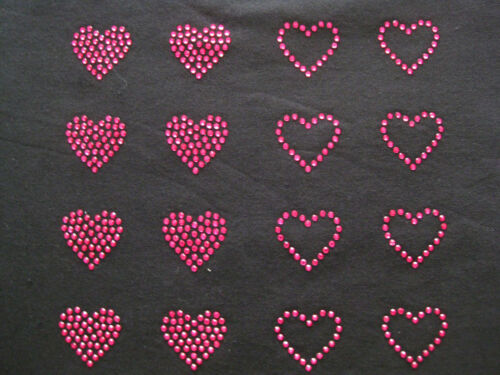 Set of 16 pcs Hot pink rhinestone hearts iron on hotfix transfer choose size